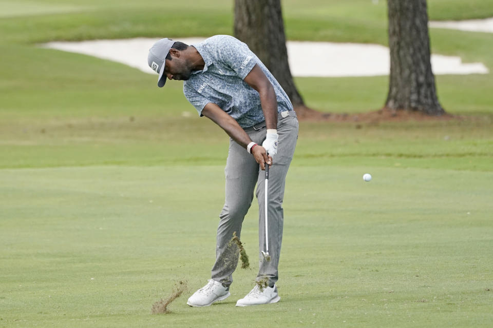 Sahith Theegala hits the ball as he plays down the first fairway during the second round of the Sanderson Farms Championship golf tournament in Jackson, Miss., Friday, Oct. 1, 2021. (AP Photo/Rogelio V. Solis)