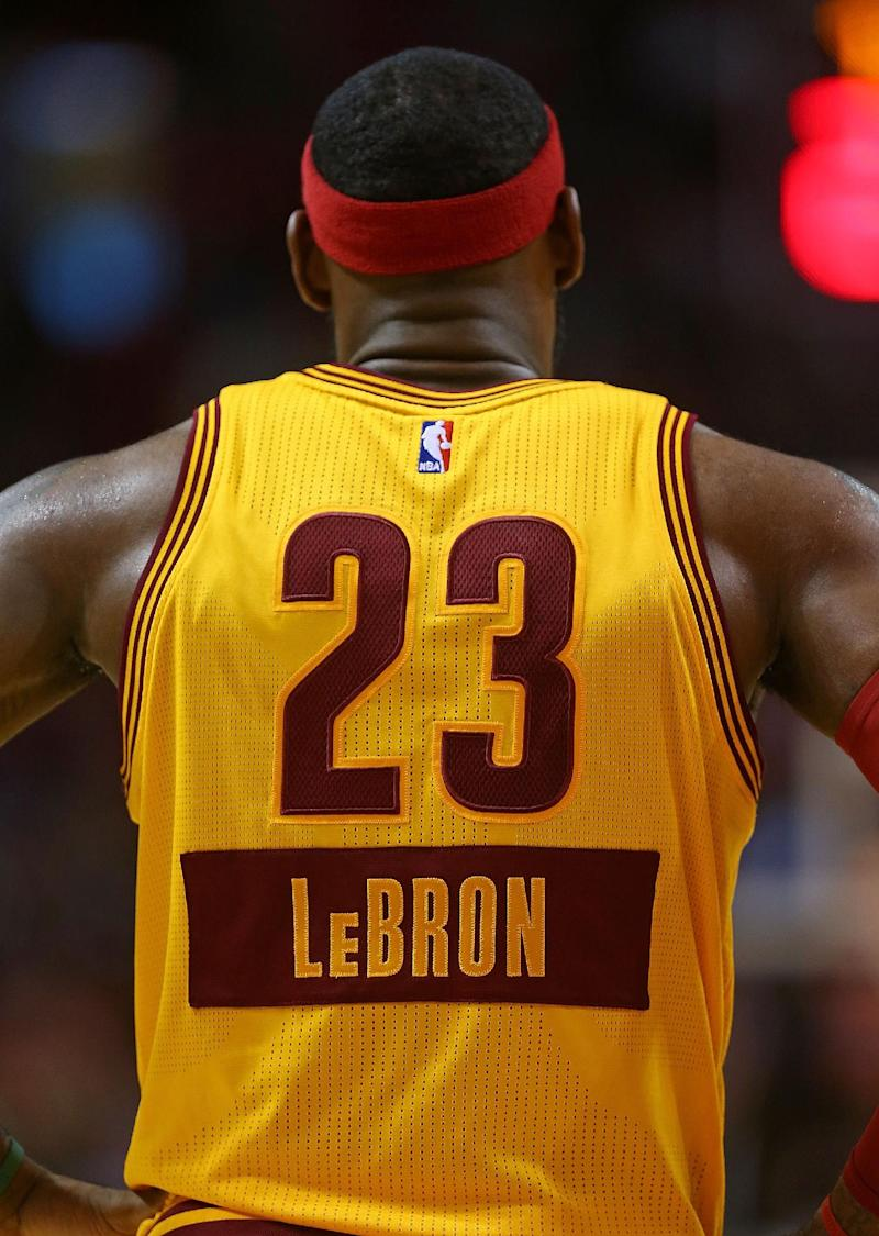 LeBron James of the Cleveland Cavaliers looks on during a game against the  Miami Heat at b4fa6061d