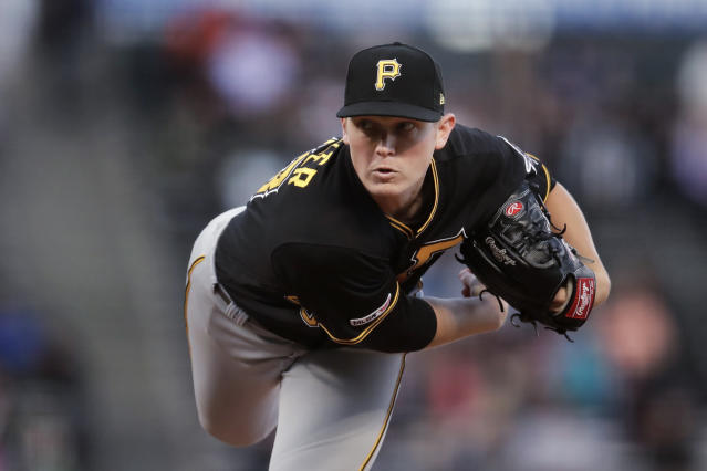 Pittsburgh Pirates pitcher Mitch Keller works against the San Francisco Giants during the first inning of a baseball game Tuesday, Sept. 10, 2019, in San Francisco. (AP Photo/Ben Margot)