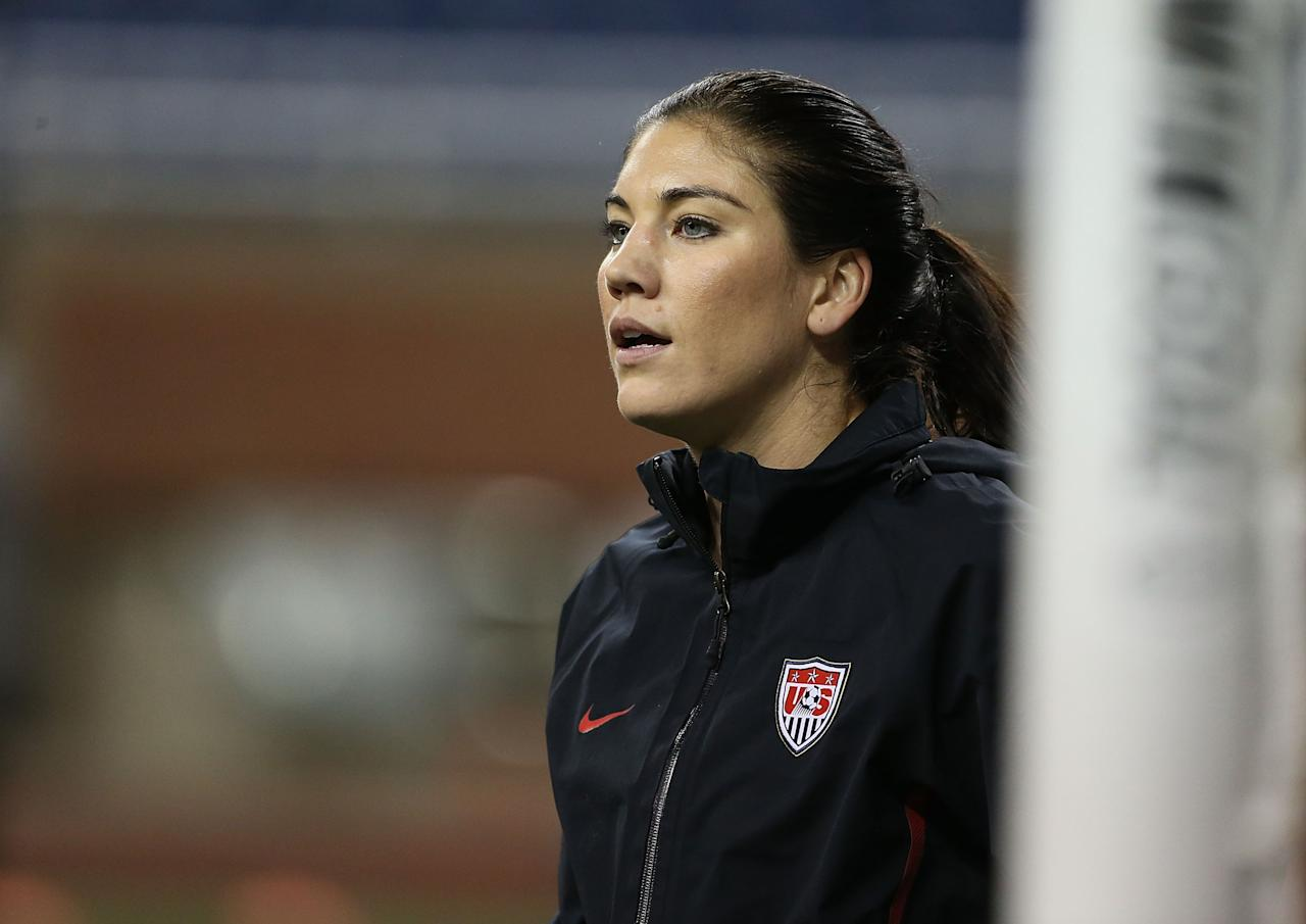 DETROIT, MI - DECEMBER 08: Hope Solo #1 of Team USA warms up prior to the start of the game against China at Ford Field on December 8, 2012 in Detroit, Michigan. USA defeated China 2-0.  (Photo by Leon Halip/Getty Images)