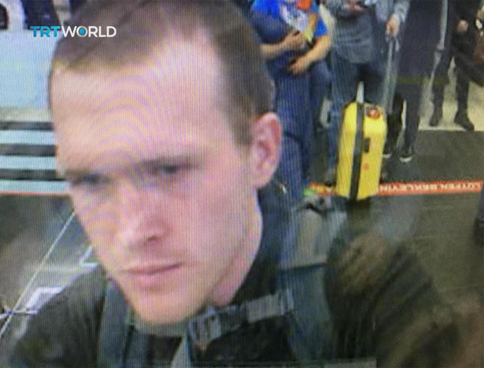 This image taken from CCTV video obtained by the state-run Turkish broadcaster TRT World and made available on Saturday, March 16, 2016, shows the arrival of who it says is Brenton Tarrant, the suspect in the New Zealand mosque attacks, in Istanbul's Ataturk International airport in Turkey on March 2016. (TRT World via AP)