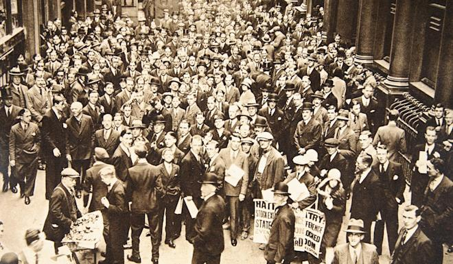 Crowd outside the London Stock Exchange after the fall of the Hatry Group. On September 20, 1929, trading in shares in British financier Clarence Charles Hatry's company was suspended. The company had massive liabilities and Hatry was charged with forgery and fraud, for which he would serve nine years in prison. The collapse of his business empire is widely credited as a contributing factor to the Wall Street Crash of 1929, which began nine days later. Photo: Historica Graphica Collection/Heritage Images/Getty Images