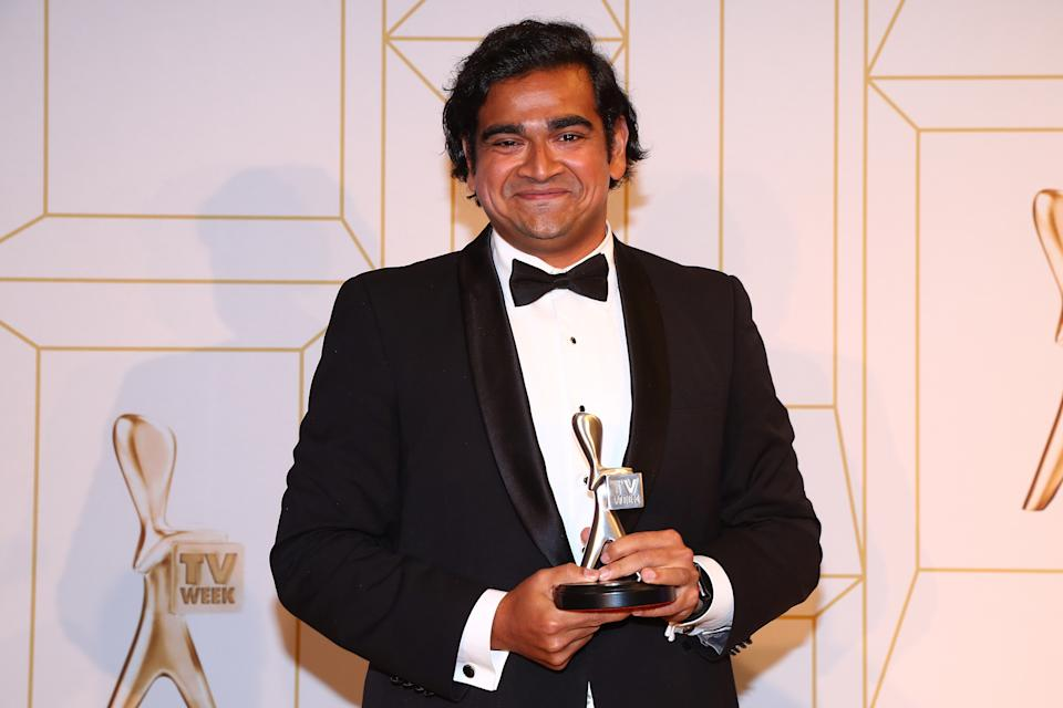 GOLD COAST, AUSTRALIA - JULY 01:  Dilruk Jayasinha poses with the award for most popular new talent at the 60th Annual Logie Awards at The Star Gold Coast on July 1, 2018 in Gold Coast, Australia.  (Photo by Chris Hyde/Getty Images)