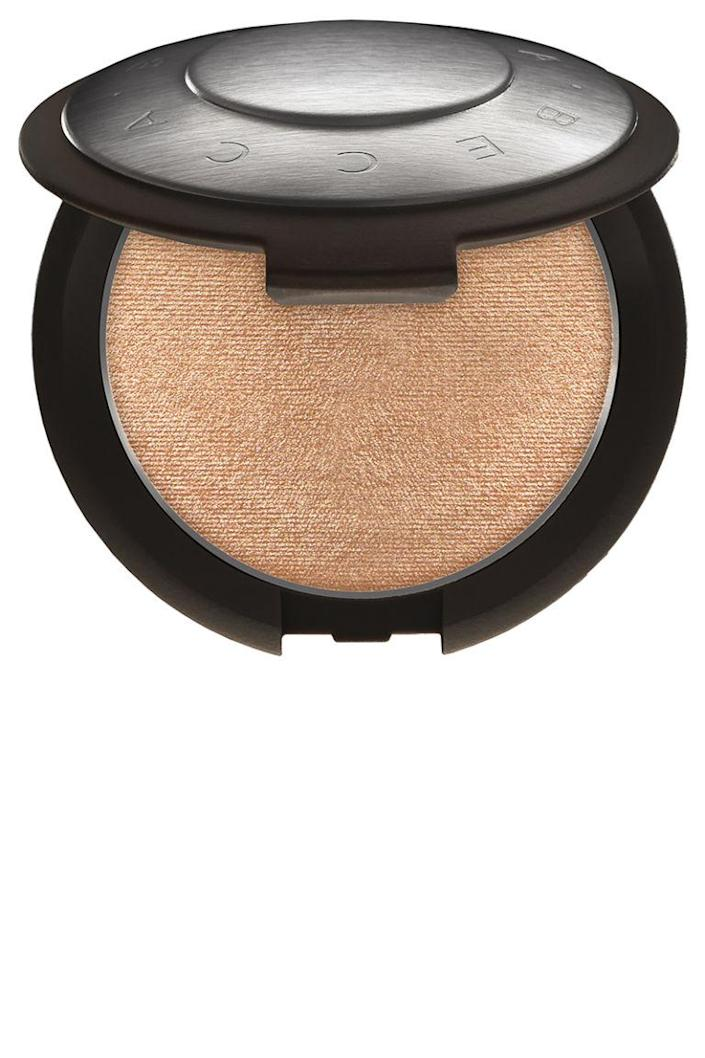 """<p>You're going to want to pop a bottle of bubbly when you see just how intense this highlighter looks on your cheekbones.</p><p><strong>BECCA</strong> Becca x Jaclyn Hill Shimmering Skin Perfector Pressed in Champagne Pop, $38, <a rel=""""nofollow noopener"""" href=""""http://www.sephora.com/shimmering-skin-perfector-pressed-P381176?skuId=1721240&icid2=products%20grid:p381176"""" target=""""_blank"""" data-ylk=""""slk:sephora.com"""" class=""""link rapid-noclick-resp"""">sephora.com</a></p>"""