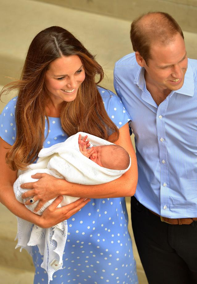The safe hands of the Duchess of Cambridge with her husband the Duke of Cambridge and their her son who was born yesterday, leave the Lindo Wing of St Mary's Hospital in west London.