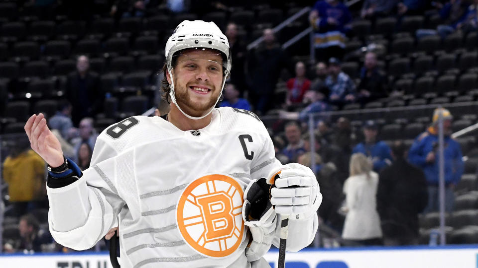 Boston Bruins forward David Pastrnak was named the MVP of the 2020 NHL All-Star Game. (Photo by Scott Rovak/NHLI via Getty Images)
