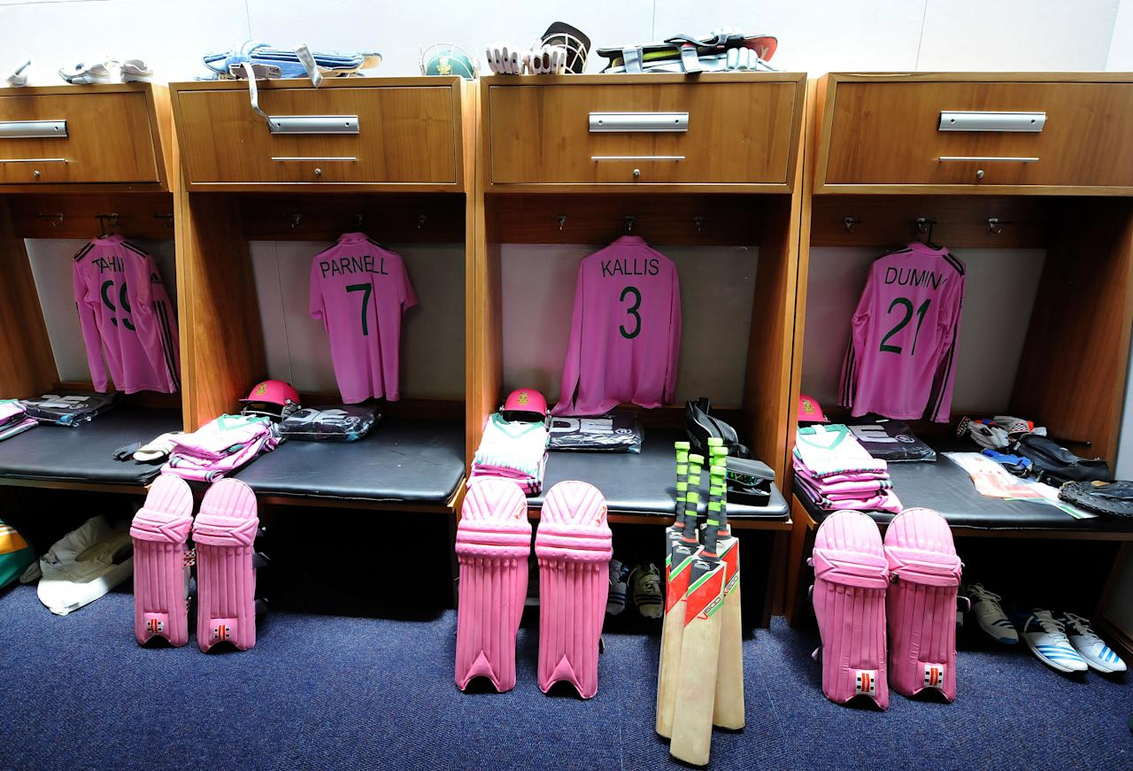 JOHANNESBURG, SOUTH AFRICA - DECEMBER 05:  A view of South Africa's pink team outfit in the changing room before the 1st Momentum ODI match between South Africa and India at Bidvest Wanderers Stadium on December 05, 2013 in Johannesburg, South Africa. The South Africa team are wearing the strip to support PinkDrive and improve breast cancer education and awareness across South Africa.  (Photo by Duif du Toit/Gallo Images/Getty Images)