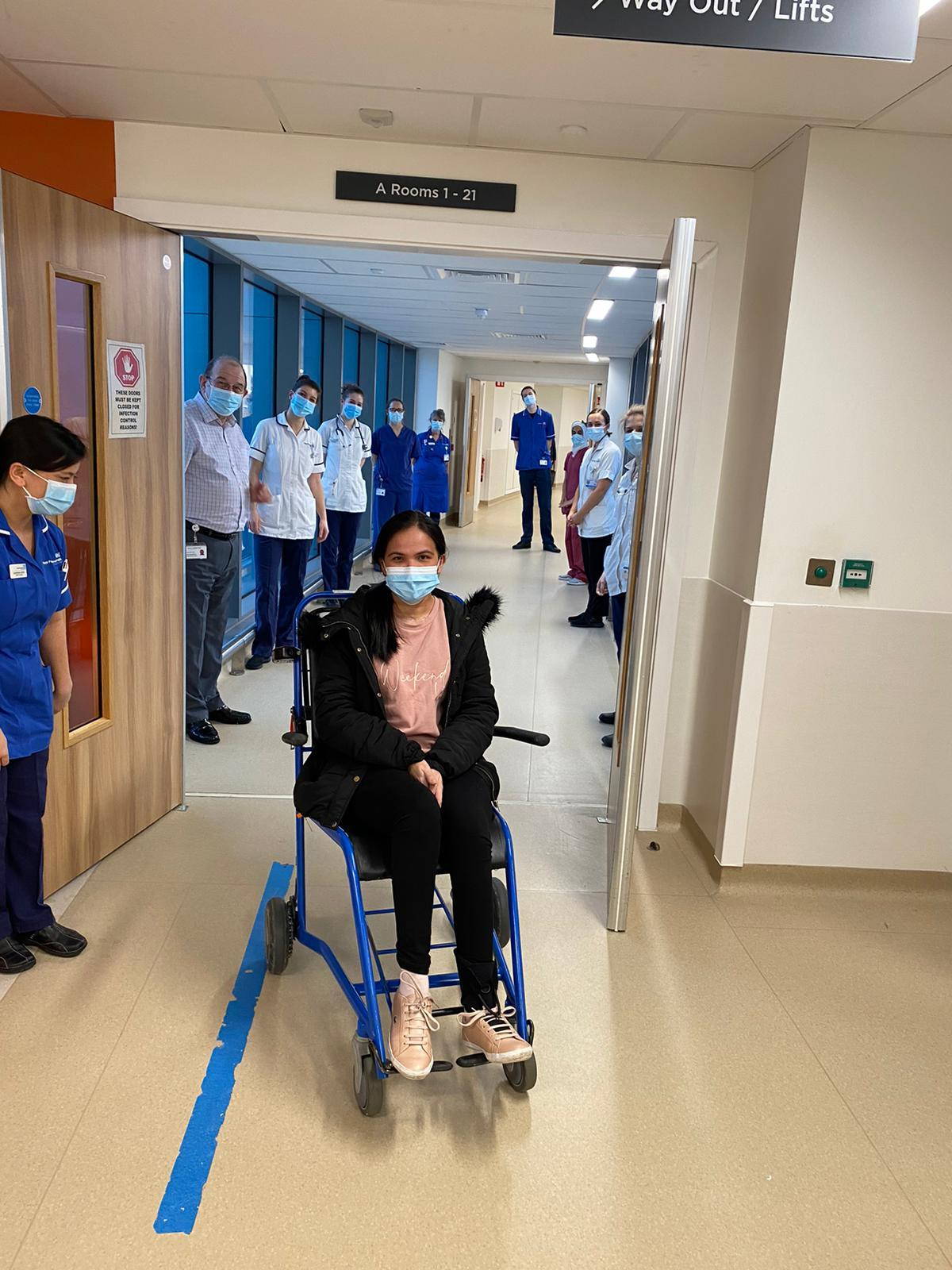 NHS Eva Gicain, 30, was discharged from hospital in January 2021 after fighting Covid-19. She has no memory of giving birth while seriously ill. (Royal Papworth Hospital/ PA)