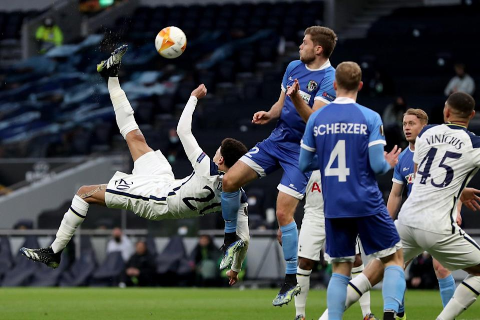 <p>Wonder goal: Dele Alli scored a brilliant overhead kick for Tottenham against Wolfsberger</p> (Tottenham Hotspur FC via Getty I)