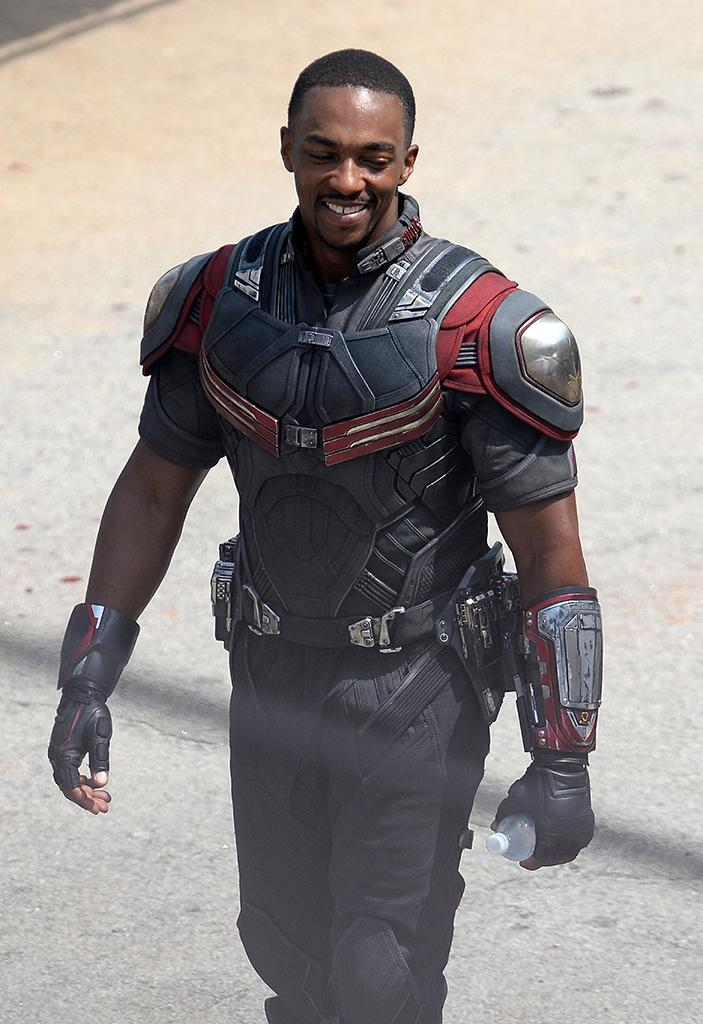 Featuring a costume upgrade from 'Winter Soldier,' Anthony Mackie returns as Sam Wilson/Falcon, Cap's stalwart pal and newly minted Avenger. He's seen here on a break in shooting on May 15.