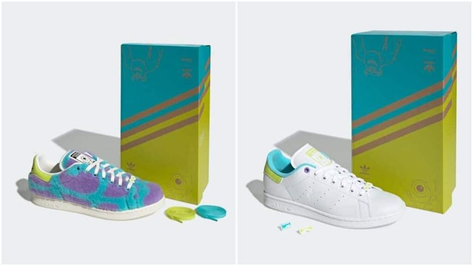 The collection features reimagined Stan Smith trainers inspired by Monsters, Inc. characters.