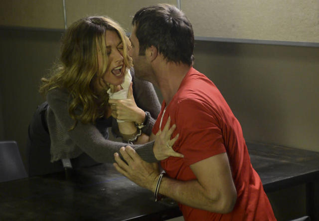"Joe Carroll (James Purefoy) gets too close to his ex-wife, Claire Matthews (Natalie Zea), in the ""Chapter Two"" episode of ""The Following."""