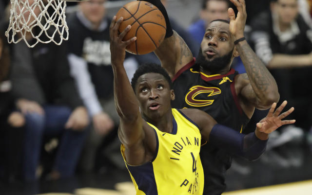Victor Oladipo nearly brought the Pacers back in Game 2, but Indiana couldn't get over the hump after LeBron James' first-quarter barrage. (AP)