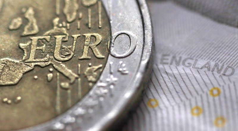 FILE PHOTO: A two Euro coin is pictured next to an English ten Pound note in an illustration