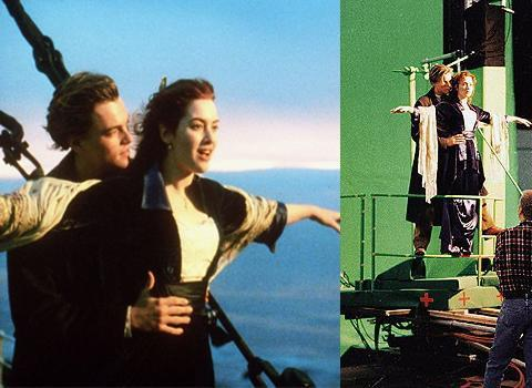 <b>Titanic</b> Quite possibly one of the most iconic film scenes of the 20th century, the moment on the prow of the Titanic where doomed lovers Rose and Jack 'fly' has burned itself into popular culture. But how'd the do it? The scene was actually accomplished through a series of shots, part shot on green screen and part shot on the actual prow of the ship set.