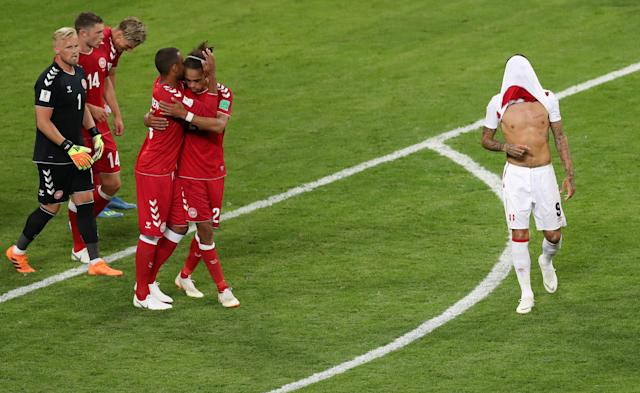 Soccer Football - World Cup - Group C - Peru vs Denmark - Mordovia Arena, Saransk, Russia - June 16, 2018 Denmark's players celebrate after the match as Peru's Paolo Guerrero looks dejected REUTERS/Ricardo Moraes TPX IMAGES OF THE DAY