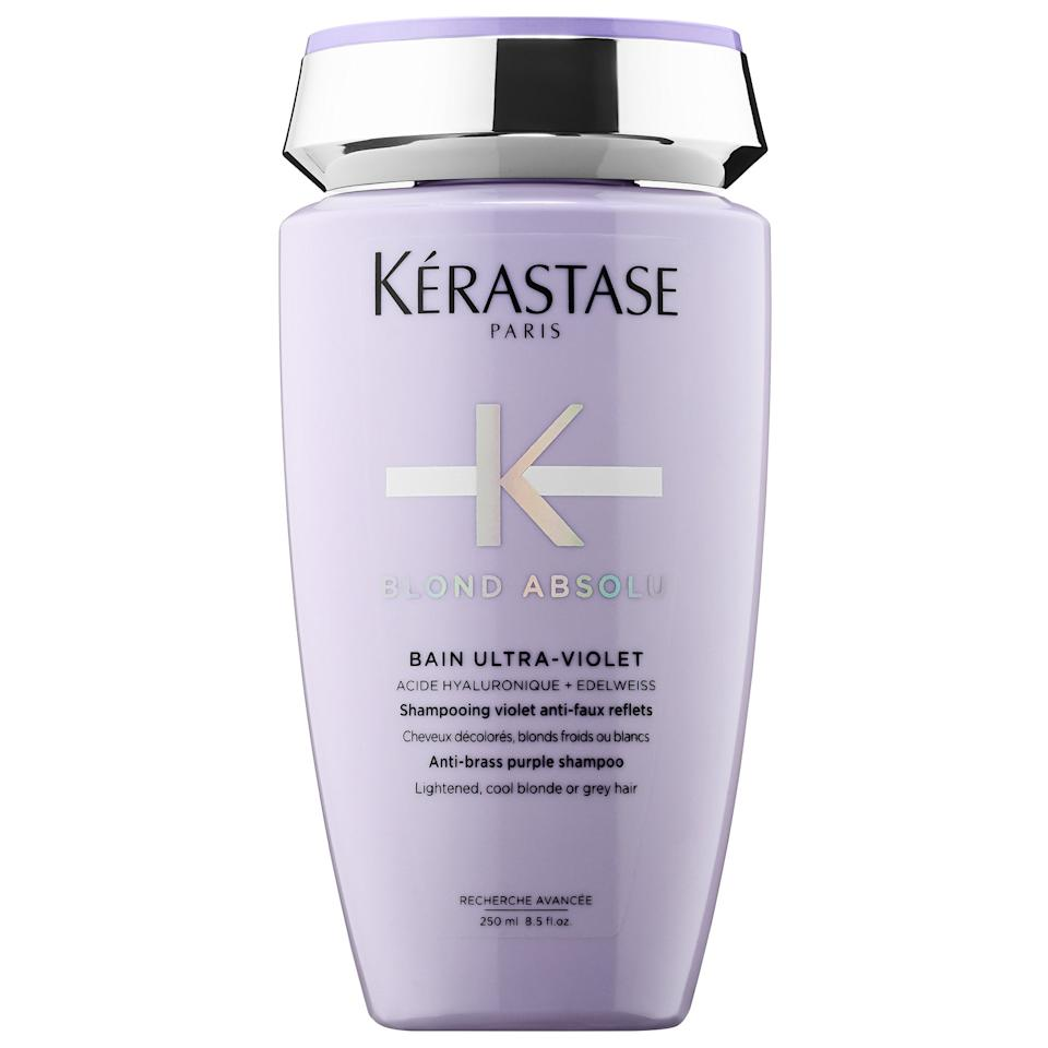 """<p>This <a href=""""https://www.popsugar.com/buy/K%C3%A9rastase-Blond-Absolu-Anti-Brass-Purple-Shampoo-553870?p_name=K%C3%A9rastase%20Blond%20Absolu%20Anti-Brass%20Purple%20Shampoo&retailer=sephora.com&pid=553870&price=35&evar1=bella%3Aus&evar9=47279162&evar98=https%3A%2F%2Fwww.popsugar.com%2Fbeauty%2Fphoto-gallery%2F47279162%2Fimage%2F47279165%2FK%C3%A9rastase-Blond-Absolu-Anti-Brass-Purple-Shampoo&list1=shopping%2Csephora%2Chair%20color&prop13=api&pdata=1"""" rel=""""nofollow"""" data-shoppable-link=""""1"""" target=""""_blank"""" class=""""ga-track"""" data-ga-category=""""Related"""" data-ga-label=""""https://www.sephora.com/product/blond-absolu-anti-brass-purple-shampoo-P441845?icid2=products%20grid:p441845:product"""" data-ga-action=""""In-Line Links"""">Kérastase Blond Absolu Anti-Brass Purple Shampoo</a> ($35) neutralizes any undesirable brassy undertones as you shampoo (similar to the toning process in a salon that adds coolness to more yellowy shades). It also softens with edelweiss flowers, and several Sephora reviewers note that it leaves their hair less dry after washing.</p> <p>For a shampoo that can be used daily, there's also this <a href=""""https://www.popsugar.com/buy/K%C3%A9rastase-Blond-Absolu-Hydrating-Illuminating-Shampoo-553872?p_name=K%C3%A9rastase%20Blond%20Absolu%20Hydrating%20Illuminating%20Shampoo&retailer=sephora.com&pid=553872&price=35&evar1=bella%3Aus&evar9=47279162&evar98=https%3A%2F%2Fwww.popsugar.com%2Fbeauty%2Fphoto-gallery%2F47279162%2Fimage%2F47279165%2FK%C3%A9rastase-Blond-Absolu-Anti-Brass-Purple-Shampoo&list1=shopping%2Csephora%2Chair%20color&prop13=api&pdata=1"""" rel=""""nofollow"""" data-shoppable-link=""""1"""" target=""""_blank"""" class=""""ga-track"""" data-ga-category=""""Related"""" data-ga-label=""""https://www.sephora.com/product/blond-absolu-hydrating-illuminating-shampoo-P441846?icid2=products%20grid:p441846:product"""" data-ga-action=""""In-Line Links"""">Kérastase Blond Absolu Hydrating Illuminating Shampoo</a> ($35), which is a clear formula to nourish and cleanse blond hair.</p>"""