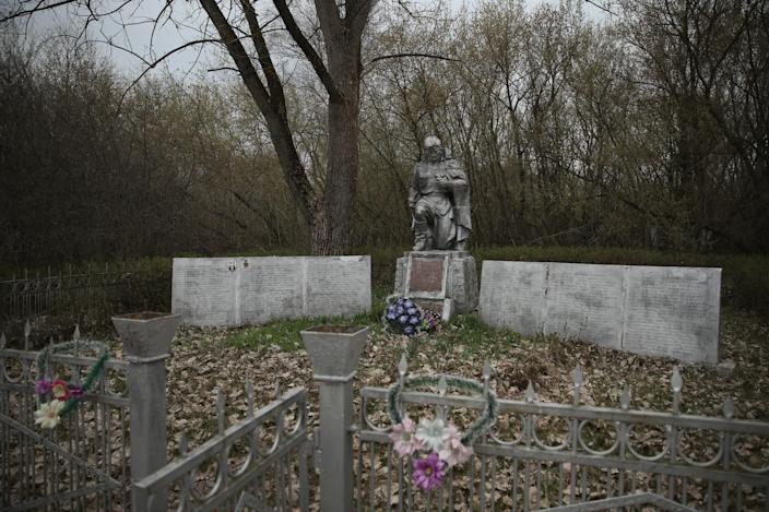 <p>A statue of a Soviet Red Army soldier stands at a memorial (Getty Images) </p>