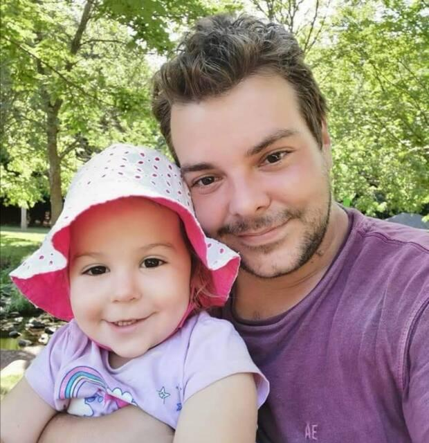 Chris Ramsay and his two year old daughter, who are racing to find a new place to live before the two month eviction notice is up.