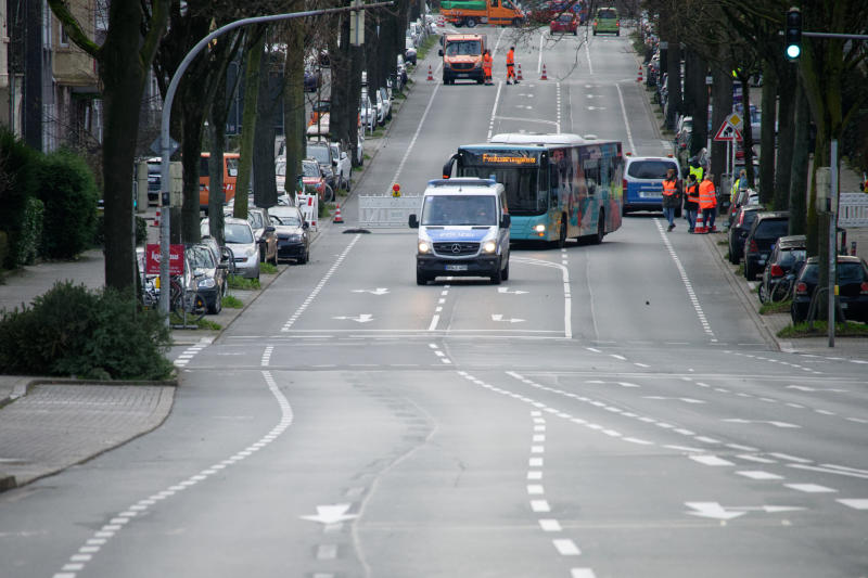 A road is closed for public traffic in Dortmund, Germany, Sunday, Jan. 12, 2020. Thousands of people are evacuating in the western Germany city of Dortmund as experts are getting ready to defuse up to four bombs from World War II. (Henning Kaiser/dpa via AP)