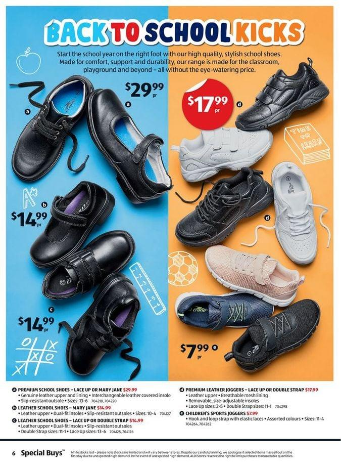 Aldi's school shoes range start at $7.99. Photo: Aldi.