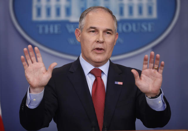 Environmental Protection Agency Administrator Scott Pruitt, speaking to the media. (Photo: Pablo Martinez Monsivais/AP)