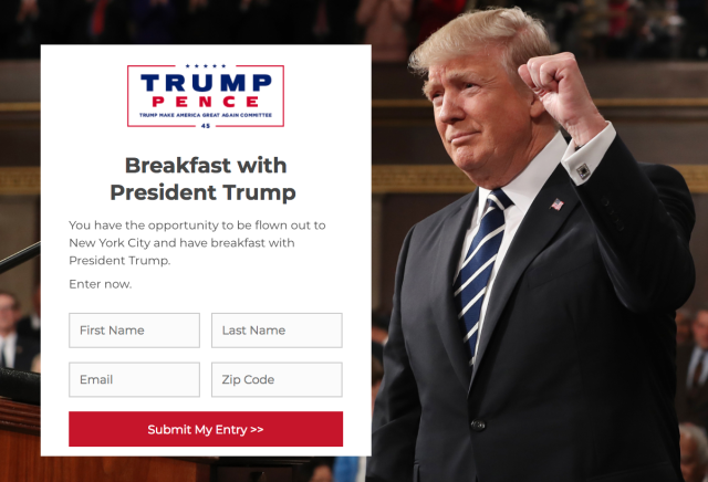 People aren't hungry at the thought of eating a Christmas breakfast with President Donald Trump.