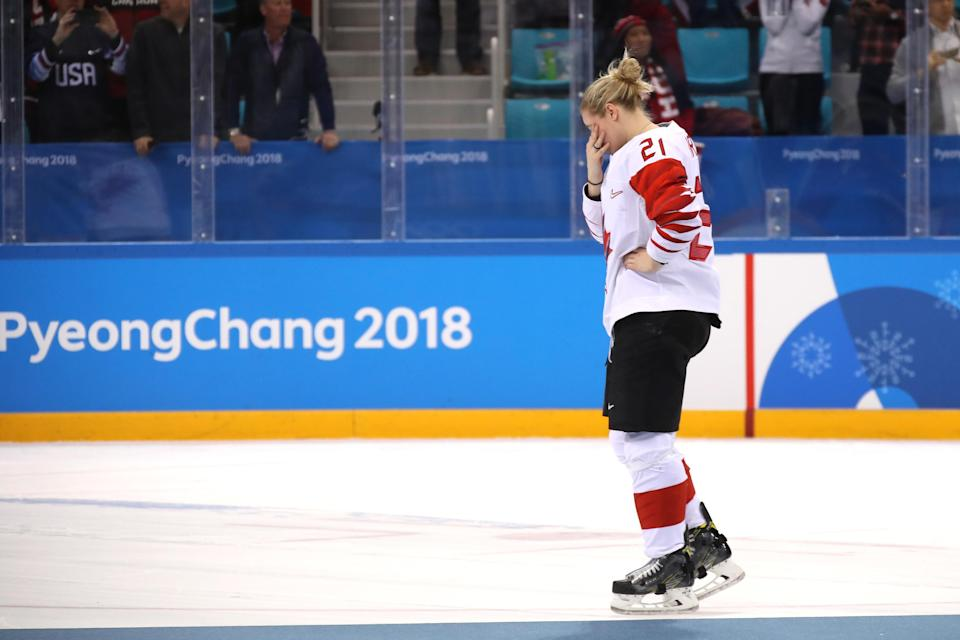<p>Haley Irwin #21 of Canada reacts after being defeated by Team United States 3-2 in the overtime penalty-shot shootout during the Women's Gold Medal Game on day 13 of the PyeongChang 2018 Winter Olympic Games, February 22, 2018.<br> (Photo by Bruce Bennett/Getty Images) </p>