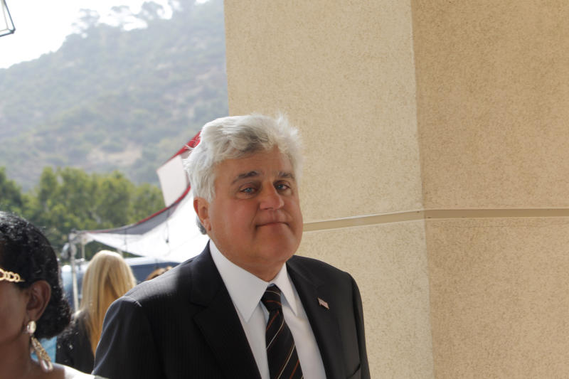 Jay Leno arrives at the Michael Clarke Duncan Memorial Service at Forest Lawn Memorial-Park and Mortuaries in the Hollywood Hills section of Los Angeles, Monday, September 10, 2012. (AP Photo/Nick Ut)