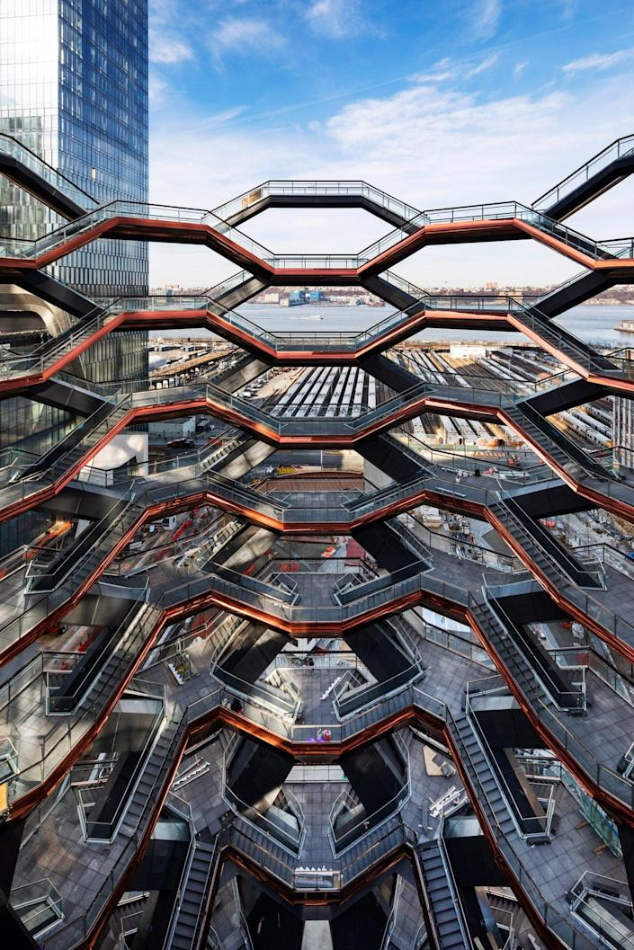 Close-up view of the many staircases that make up the Thomas Heatherwick-designed