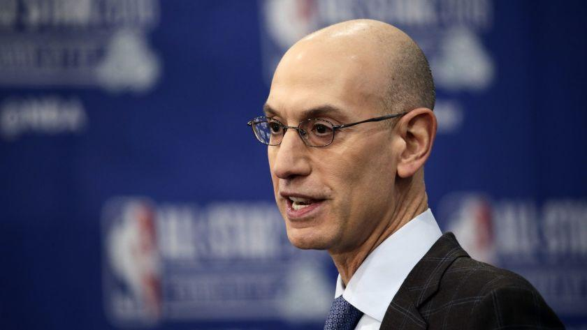 NBA Commissioner Adam Silver speaks during the NBA All-Star festivities, Saturday, Feb. 16, 2019, in Charlotte, N.C. The 68th All-Star game will be played Sunday. (AP Photo/Gerry Broome)