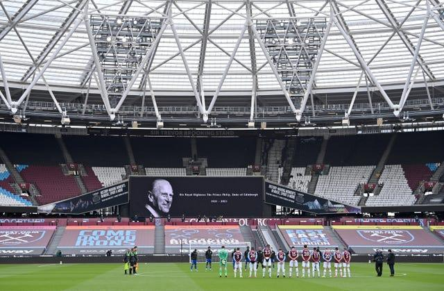 The London Stadium's screen displays a tribute to Prince Philip as West Ham and Leicester observe a two-minute silence