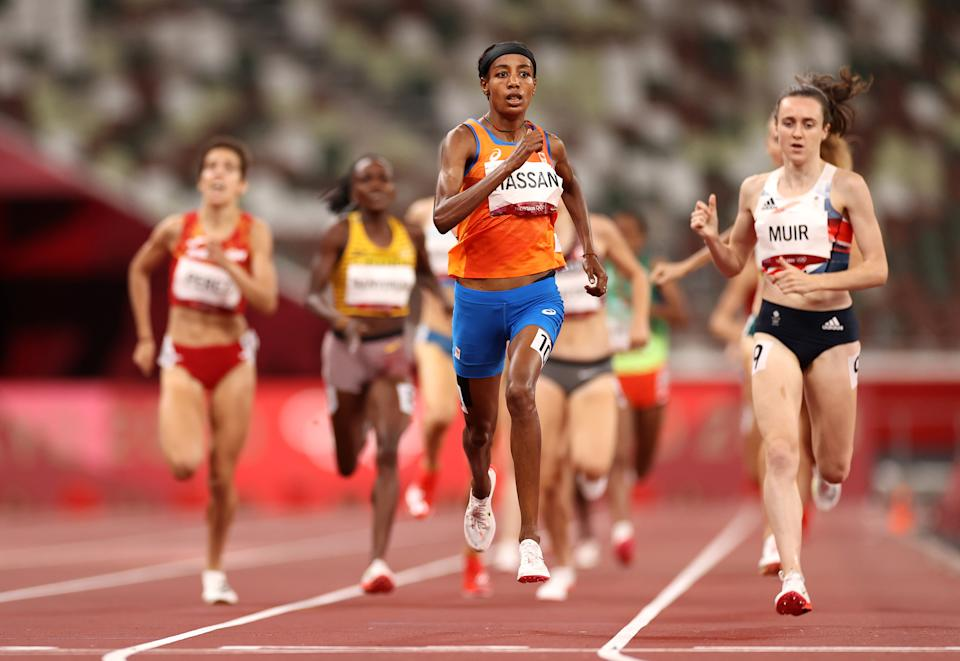 TOKYO, JAPAN - AUGUST 04: Sifan Hassan of Team Netherlands competes in the Women's 1500m Semi Final on day twelve of the Tokyo 2020 Olympic Games at Olympic Stadium on August 04, 2021 in Tokyo, Japan. (Photo by Cameron Spencer/Getty Images)