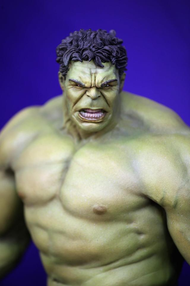 LONDON, ENGLAND - JANUARY 22: An Incredible Hulk toy is displayed on a trade stand during the 2013 London Toy Fair at Olympia Exhibition Centre on January 22, 2013 in London, England. The annual fair which is organised by the British Toy and Hobby Association, brings together toy manufacturers and retailers from around the world. (Photo by Dan Kitwood/Getty Images)