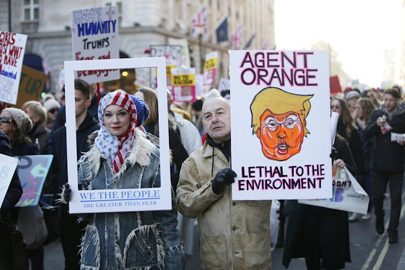 Go, Anywheres: protesters in London on the women's march in January this year: Rex Features