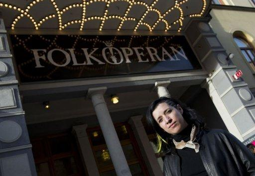 "Mellika Melouani Melani, artistic director of the Stockholm folk opera, poses outside the Stockholm Folkoperan. ""Opera Aid"", part of a larger project called Opera Showroom run by Melani, aims to bring opera out of the confines of the traditional concert hall"