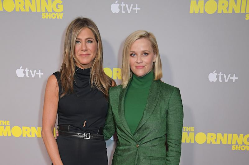 "LONDON, ENGLAND - NOVEMBER 01: Jennifer Aniston and Reese Witherspoon attend a special screening of Apple's ""The Morning Show"" at The Ham Yard Hotel on November 1, 2019 in London, England. (Photo by David M. Benett/Dave Benett/Getty Images for Apple)"