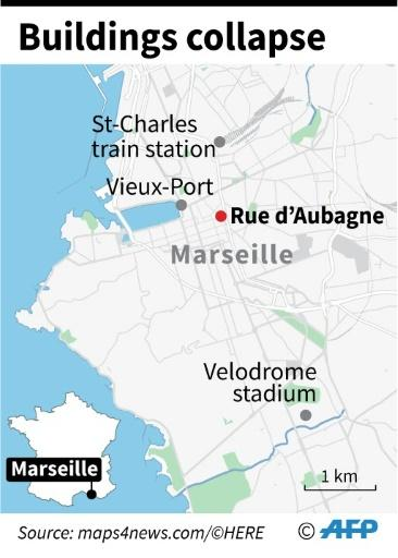 Map of Marseille locating the street where two apartment buildings collapsed