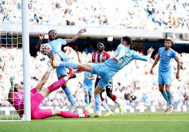 Raheem Sterling 'scores' a disallowed goal after Phil Foden's effort against Southampton was saved