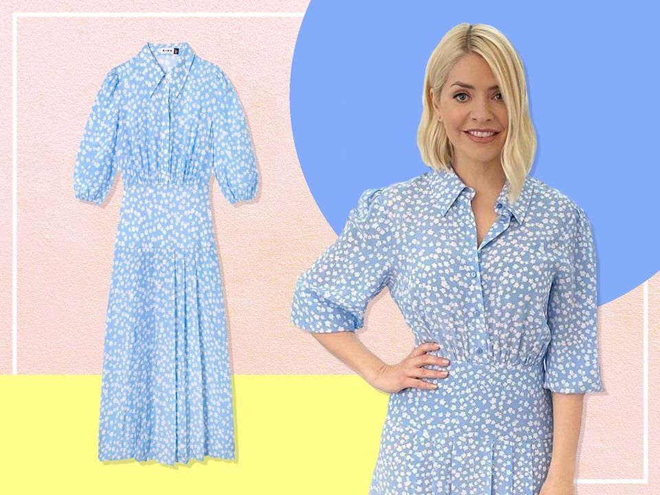 <p>Holly's turned to cult fashion brand Rixo for today's ensemble</p> (The Independent)
