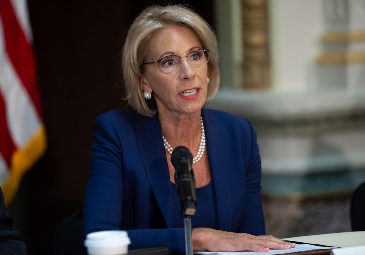 US Secretary of Education Betsy DeVos proposes new rules about campus sexual assault and harassment: SAUL LOEB/AFP/Getty Images
