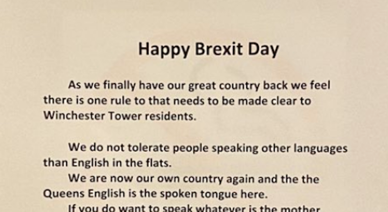 "A note pinned up on doors in a block of flats said residents would not ""tolerate people speaking other languages than English"" (Picture: Twitter)"
