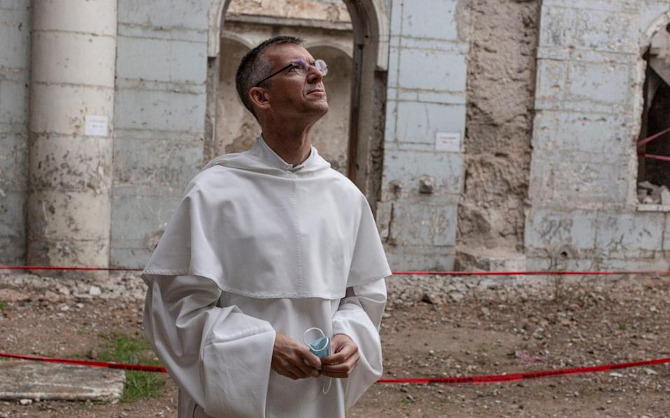 Dominican Priest Father Olivier Poquillon is photographed at The Immaculate Syriac Catholic Church in Mosul, Iraq, on March 4th 2021. - Sam Tarling for the Telegraph