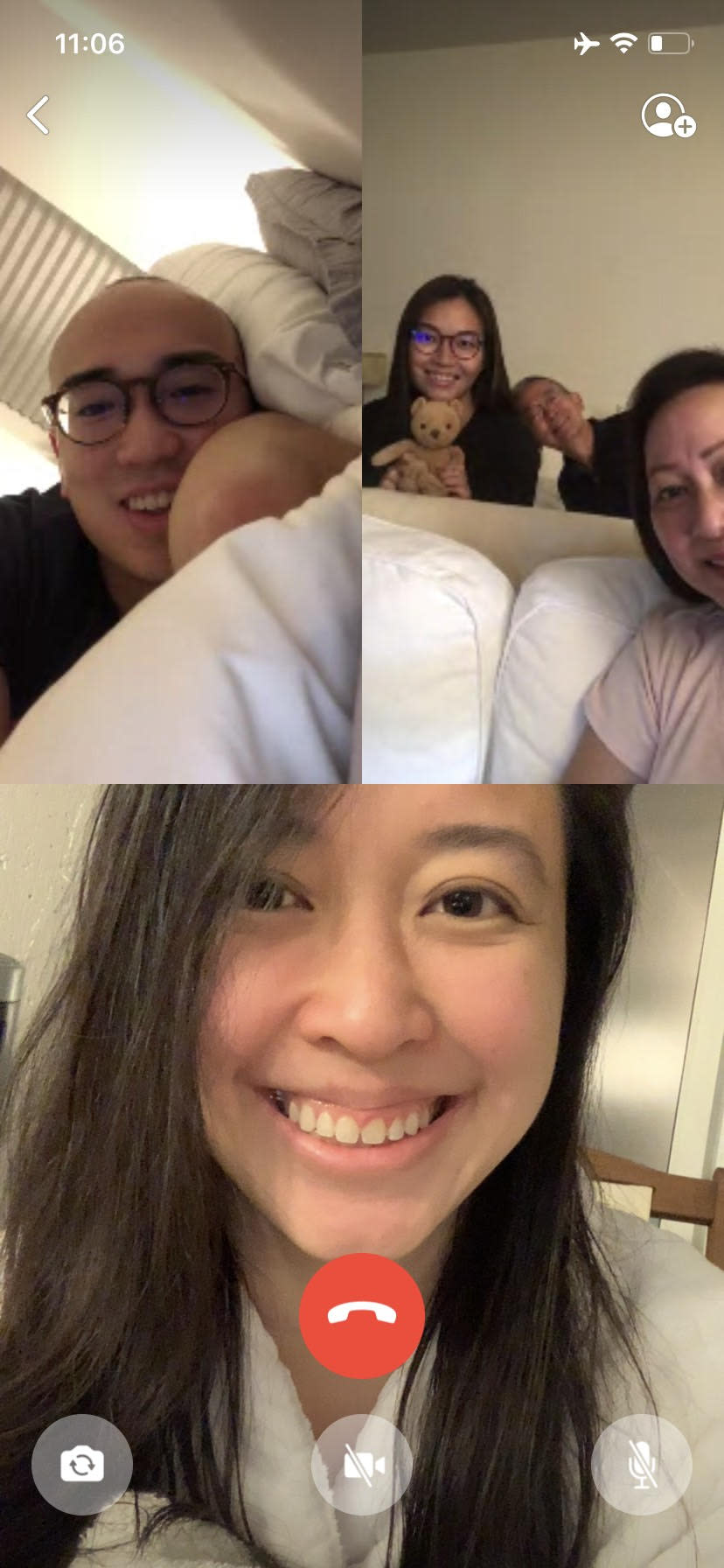 Boston-based Jiezhen Wu on a video chat with her brother in New York City and her parents and sister in Singapore. PHOTO: Jiezhen Wu
