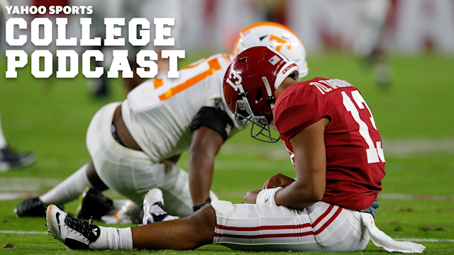 Top-ranked Alabama will be without its signal-caller, Tua Tagovailoa, this Saturday against Arkansas. They may not need him against the Hogs, but the November, 9th, showdown with LSU looms. Will Tagovailoa return from his high-ankle sprain procedure in time? The Yahoo Sports College Podcast breaks it down.