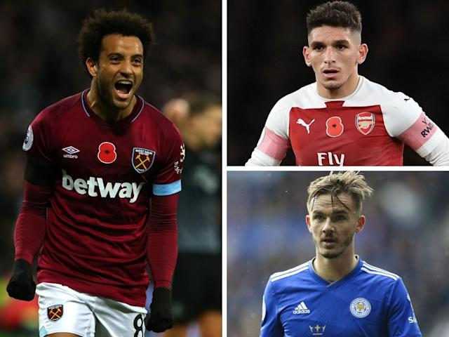 Clockwise from left-right: Felipe Anderson, Lucas Torreira, James Maddison