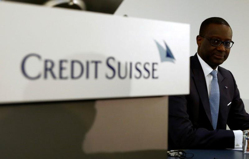 CEO Thiam of Swiss bank Credit Suisse awaits a news conference in Zurich