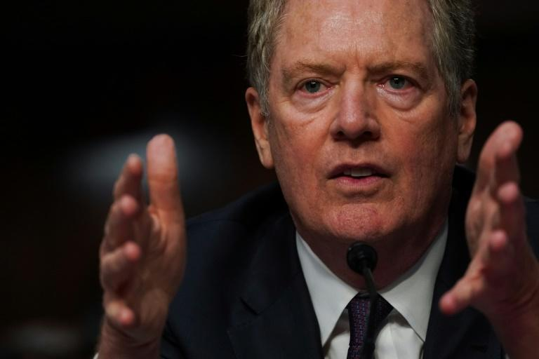 """US Trade Representative Robert Lighthizer, pictured at the US Senate in June 2020, said the US """"must be allowed to defend itself against unfair trade practices"""""""