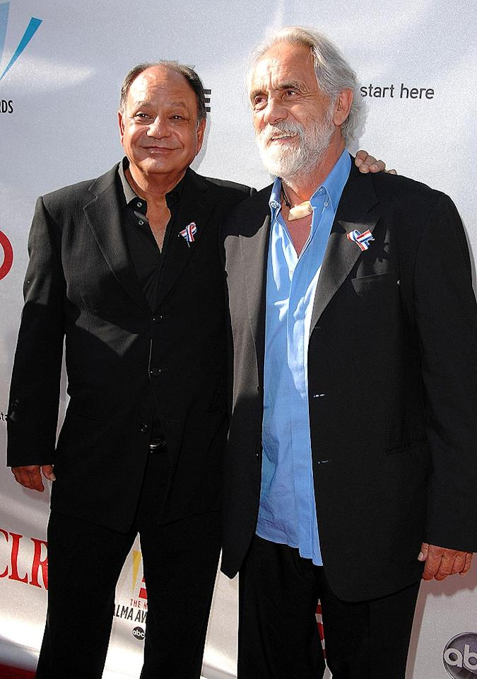 "Although Cheech Marin and Tommy Chong are still hippies at heart, you wouldn't necessarily know it judging from the black suits they donned on the red carpet. The comedy duo recently announced that they are going on the road with their ""Light It Up America"" tour. Steve Granitz/<a href=""http://www.wireimage.com"" target=""new"">WireImage.com</a> - August 17, 2008"