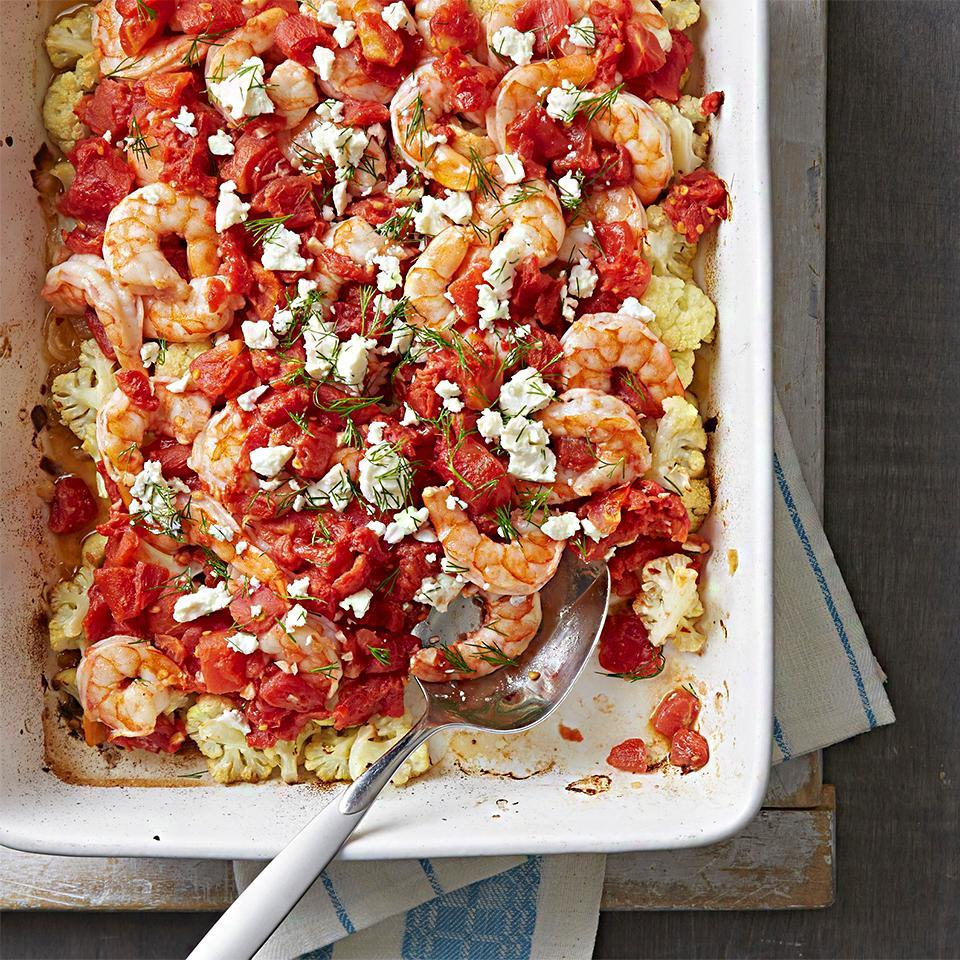 """<p>This quick and easy seafood casserole gets bright flavor from fresh dill and feta cheese. <a href=""""http://www.eatingwell.com/recipe/259616/shrimp-and-cauliflower-bake/"""" rel=""""nofollow noopener"""" target=""""_blank"""" data-ylk=""""slk:View recipe"""" class=""""link rapid-noclick-resp""""> View recipe </a></p>"""